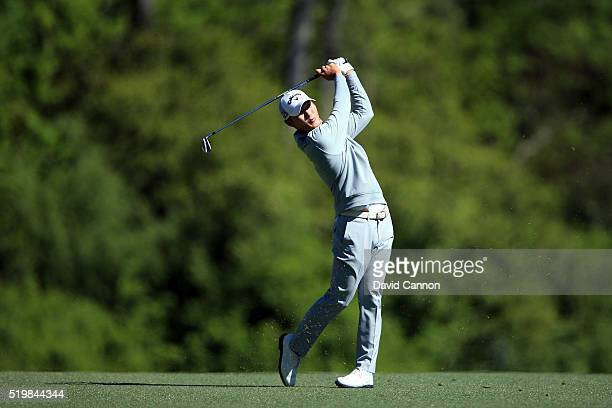 Danny Lee of New Zealand plays his second shot on the fifth hole during the second round of the 2016 Masters Tournament at Augusta National Golf Club...