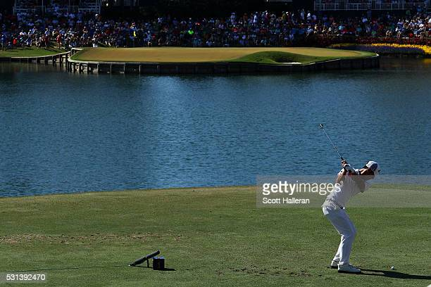 Danny Lee of New Zealand plays his shot from the 17th tee during the third round of THE PLAYERS Championship at the Stadium course at TPC Sawgrass on...