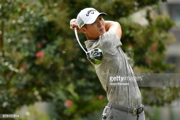 Danny Lee of New Zealand plays his shot from the second tee during the first round of the 2017 PGA Championship at Quail Hollow Club on August 10...
