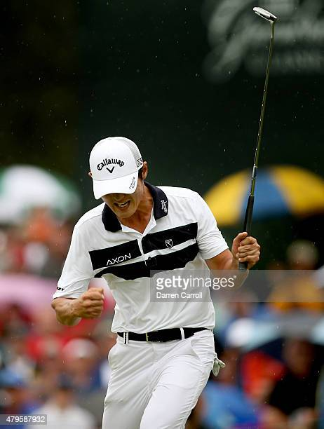 Danny Lee of New Zealand reacts after making a birdie putt on the 18th hole during a playoff against David Hearn of Canada Robert Streb and Kevin...