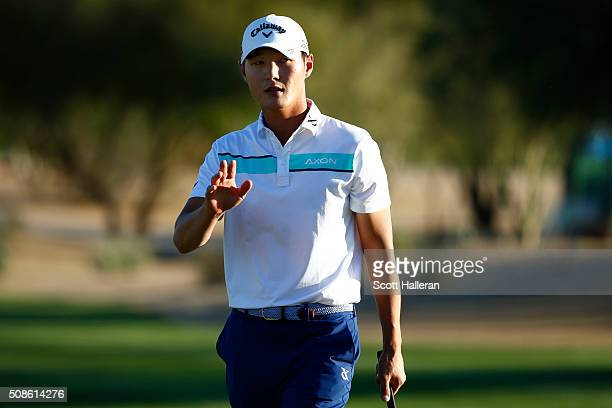 Danny Lee of New Zealand reacts after making birdie on the seventh hole during the second round of the Waste Management Phoenix Open at TPC...