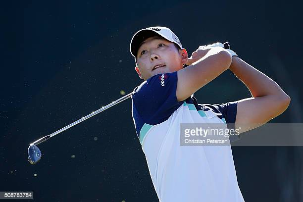 Danny Lee of New Zealand tees off on the 16th hole during the third round of the Waste Management Phoenix Open at TPC Scottsdale on February 6 2016...