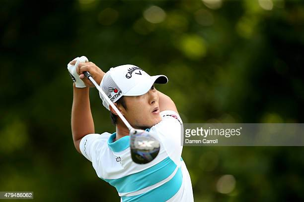 Danny Lee of New Zealand tees off on the 17th hole during the third round of the Greenbrier Classic at the Old White TPC on July 4 2015 in White...