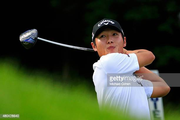 Danny Lee of New Zealand tees off on the 18th hole during the third round of the John Deere Classic held at TPC Deere Run on July 11 2015 in Silvis...
