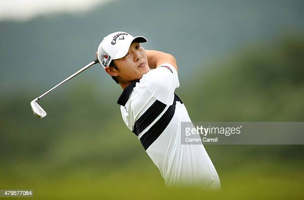 Danny Lee of New Zealand tees off on the third hole during the final round of the Greenbrier Classic held at The Old White TPC on July 5 2015 in...