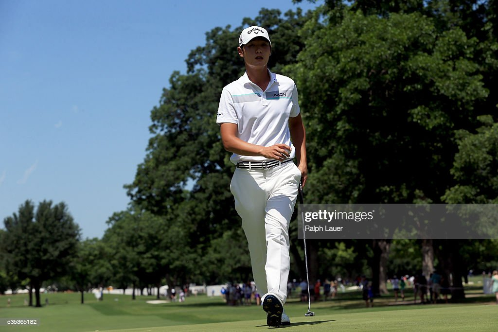 Danny Lee of New Zealand walks off of the third green during the DEAN & DELUCA Invitational at Colonial Country Club on May 29, 2016 in Fort Worth, Texas.