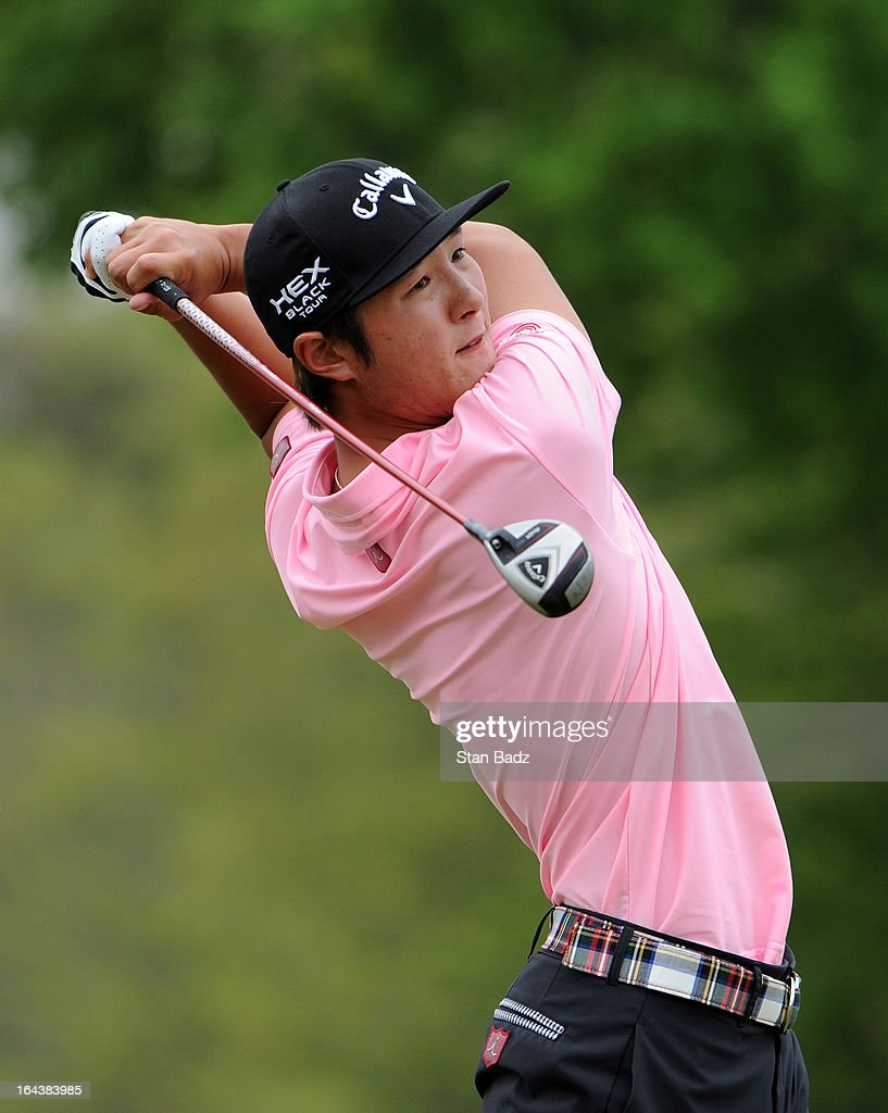 Danny Lee of South Korea hits a tee shot on the fourth hole during the third round of the Chitimacha Louisiana Open at Le Triomphe Country Club on March 23, 2013 in Broussard, Louisiana.