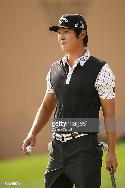 Danny Lee putts in for birdie on the 18th during Round One of the Valero Texas Open at the ATT Oaks Course on March 27 2014 in San Antonio Texas