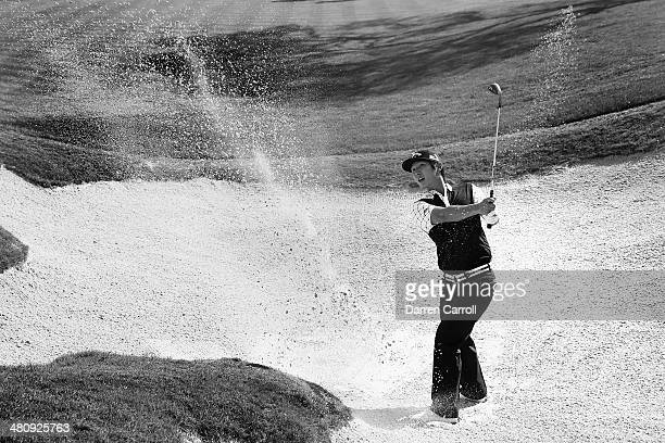 Danny Lee takes his third shot form the bunker on the 18th during Round One of the Valero Texas Open at the ATT Oaks Course on March 27 2014 in San...