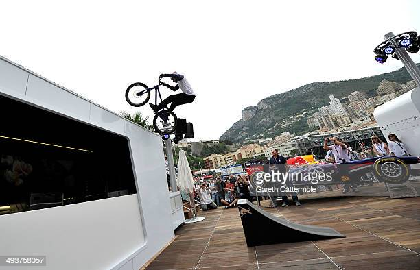 Danny MacAskill performs onboard the Red Bull Energy Station during the Monaco Formula One Grand Prix at Circuit de Monaco on May 25 2014 in...
