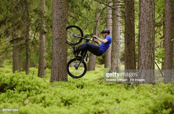 Danny MacAskill shows his skills by tree climbing near Lochan Eilein in preparation for the Outside Festival midsummer weekend in Rothiemurchus near...