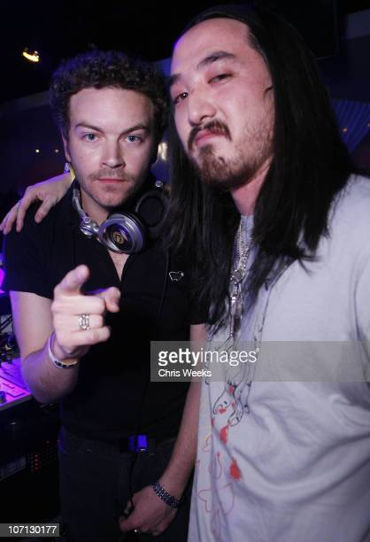 Danny Masterson and Steve Aoki during PURE Nightclub Hosts De La Hoya Afterparty Inside at Pure Nightclub in Las Vegas Nevada United States