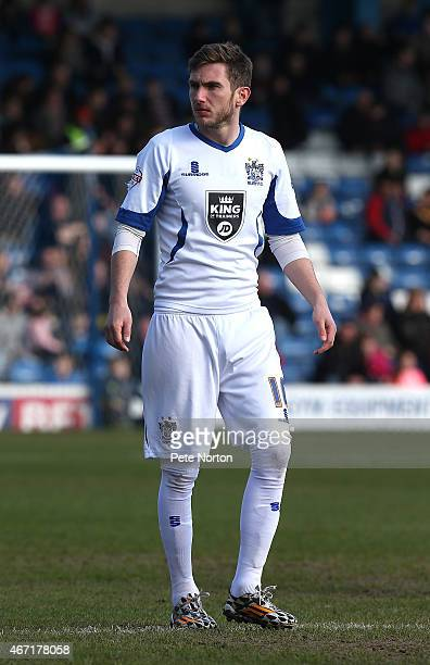 Danny Mayor of Bury in action during the Sky Bet League Two match between Bury and Northampton Town at The JD Stadium on March 21 2015 in Bury England