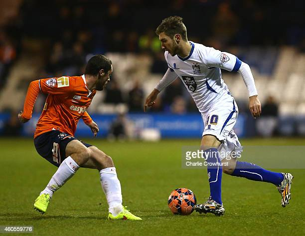 Danny Mayor of Bury looks to attack during the FA Cup Second Round Replay match between Luton Town and Bury at Kenilworth Road on December 16 2014 in...