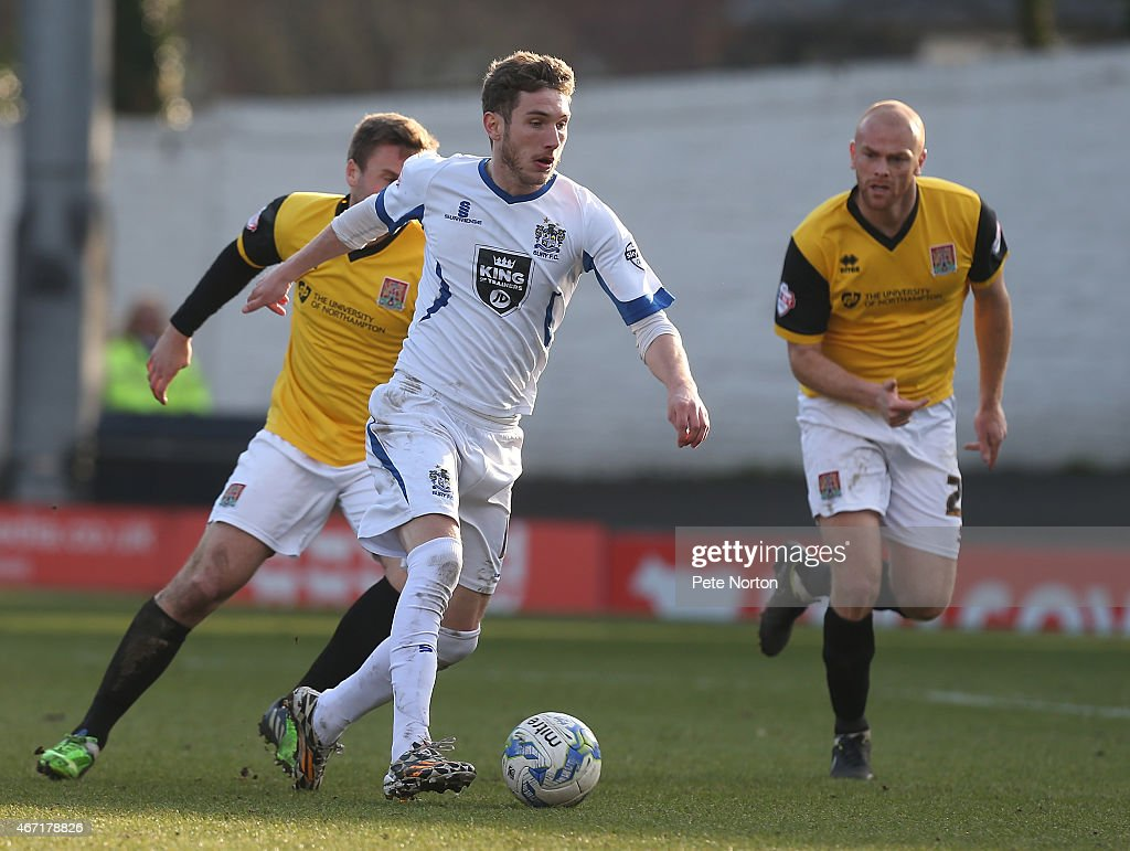 Danny Mayor of Bury moves forward with the ball during the Sky Bet League Two match between Bury and Northampton Town at The JD Stadium on March 21...