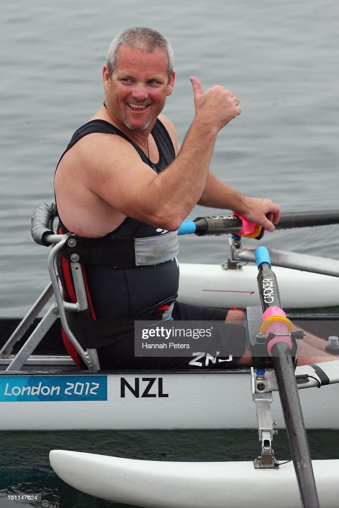 Danny McBride of New Zealand celebrates after winning the Men's Single Sculls ASM1x rowing final on day 4 of the London 2012 Paralympic Games at Eton...
