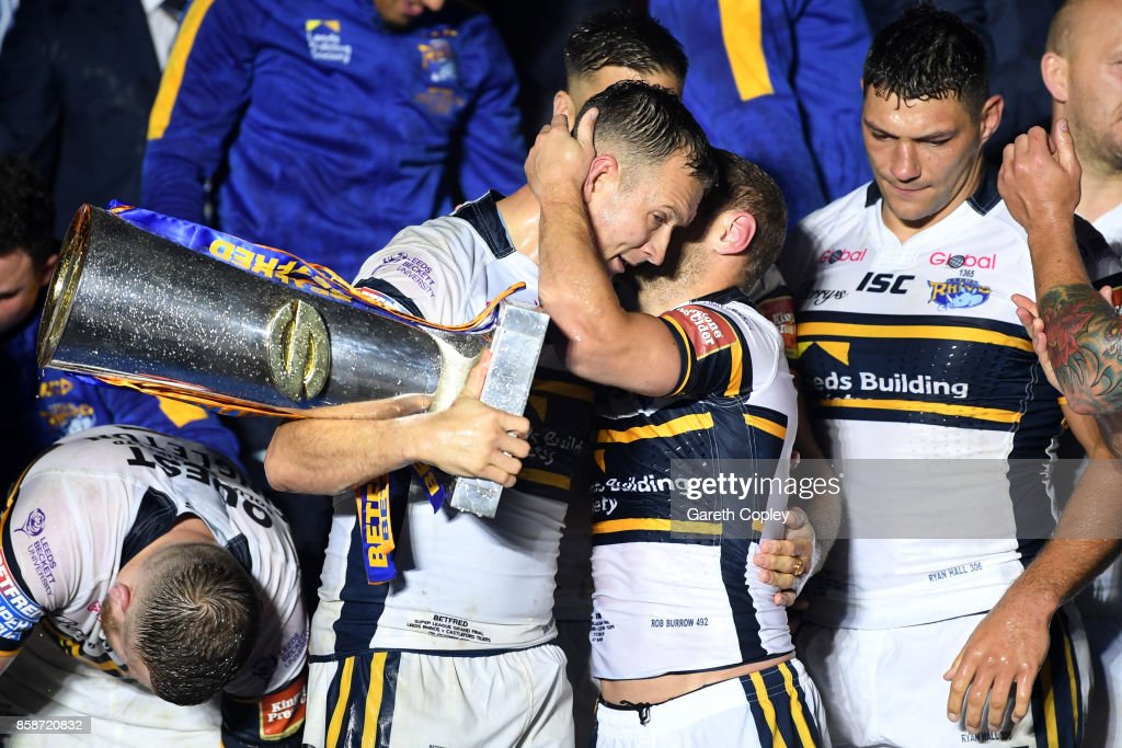 Danny McGuire and Rob Burrow of Leeds Rhinos embrace at the end of the Betfred Super League Grand Final match between Castleford Tigers and Leeds Rhinos at Old Trafford on October 7, 2017 in Manchester, England.