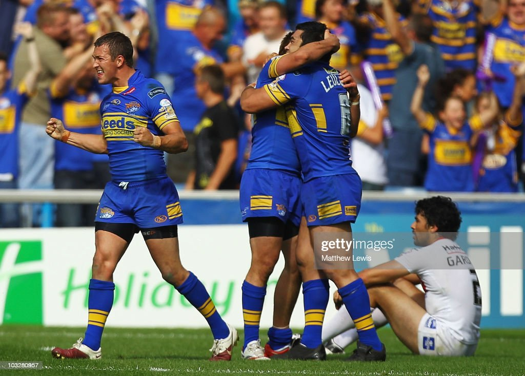 Danny McGuire of Leeds celebrates his teams victory during the Carnegie Challenge Cup Semi Final match between Leeds Rhinos and St. Helens at the Galpharm Stadium on August 7, 2010 in Huddersfield, England.