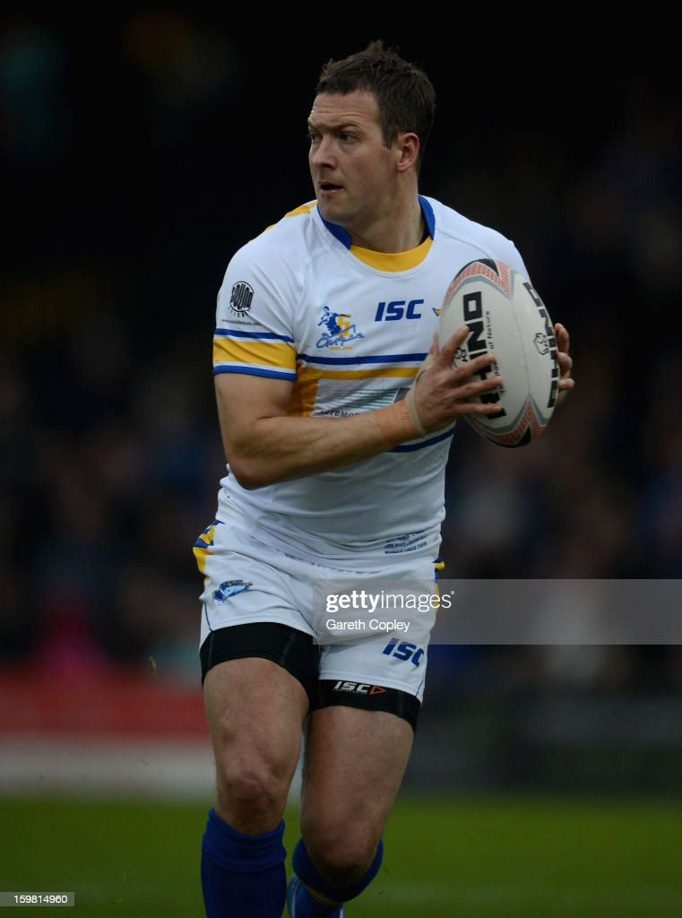 Danny McGuire of Leeds in action during Rugby League pre-season friendly between Leeds Rhinos and Bradford Bulls at Headingley Stadium on January 20, 2013 in Leeds, England.