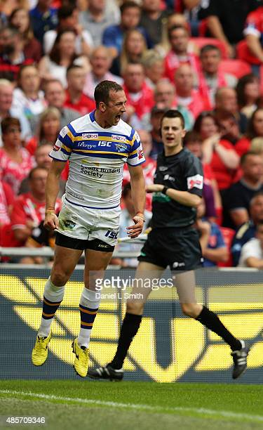 Danny McGuire of Leeds Rhinos celebrates after scoring a try during the Ladbrokes Challenge Cup Final between Leeds Rhinos and Hull KR at Wembley...