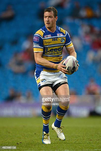 Danny McGuire of Leeds Rhinos in action during the Super League match between Wigan Warriors and Leeds Rhinos at Etihad Stadium on May 17 2014 in...