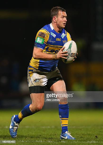 Danny McGuire of Leeds Rhinos runs with the ball during the Stobart Super League match between Leeds Rhinos and Hull FC at Headingley Carnegie...