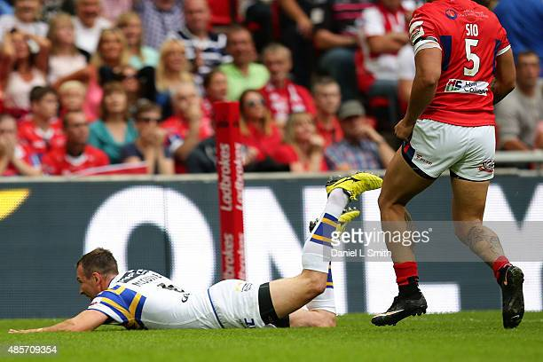 Danny McGuire of Leeds Rhinos scores a try during the Ladbrokes Challenge Cup Final between Leeds Rhinos and Hull KR at Wembley Stadium on August 29...