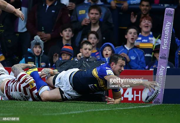 Danny McGuire of Leeds Rhinos scores a try during the Round 2 match of the First Utility Super League Super 8s between Leeds Rhinos and Wigan...