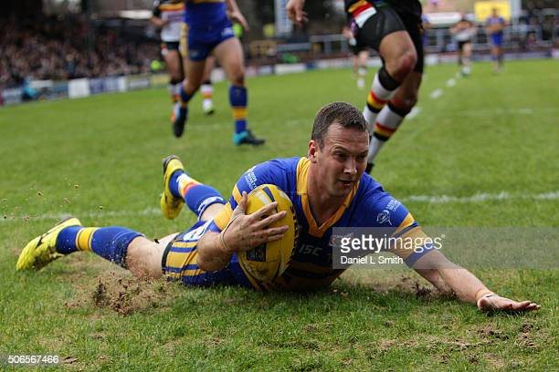Danny McGuire of Leeds Rhinos scores his sides first try during the Leeds Rhinos v Bradford Bulls friendly match at Headingley Carnegie Stadium on...