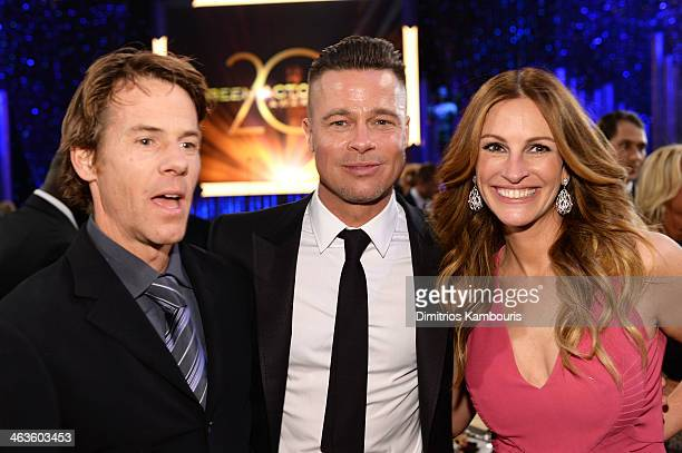 Danny Moder Brad Pitt and Julia Roberts attend the 20th Annual Screen Actors Guild Awards at The Shrine Auditorium on January 18 2014 in Los Angeles...