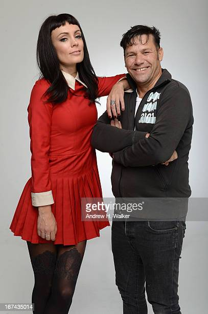 Danny Mulheron director and Kate Elliott actress of the film 'Fresh Meat' pose at the Tribeca Film Festival 2013 portrait studio on April 25 2013 in...