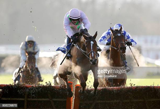 Danny Mullins riding Thomas Hobson clear the last to win The Neptune Investment management Novices' Hurdle Race at Warwick racecourse on January 16...