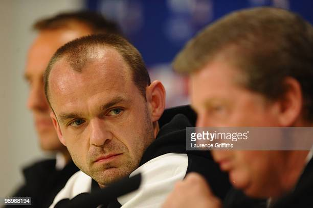 Danny Murphy looks on during the Fulham press conference ahead of the UEFA Europa League final match against Atletico Madrid at HSH Nordbank Arena on...