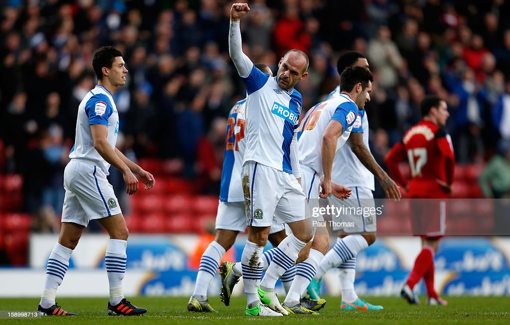 Danny Murphy of Blackburn celebrates his goal during the FA Cup with Budweiser Third Round match between Blackburn Rovers and Bristol City at Ewood Park on January 5, 2013 in Blackburn, England.