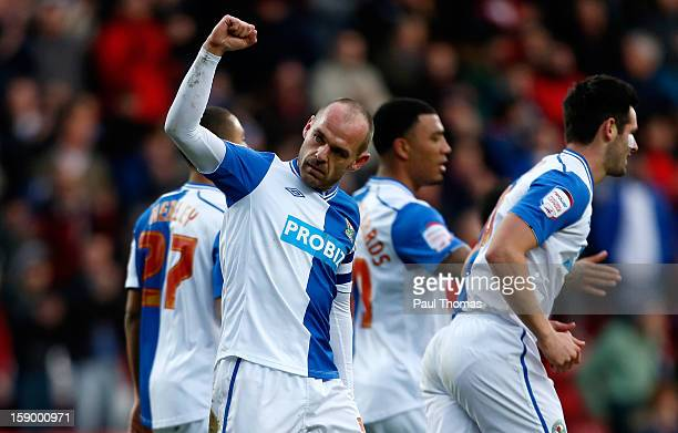 Danny Murphy of Blackburn celebrates his goal during the FA Cup with Budweiser Third Round match between Blackburn Rovers and Bristol City at Ewood...