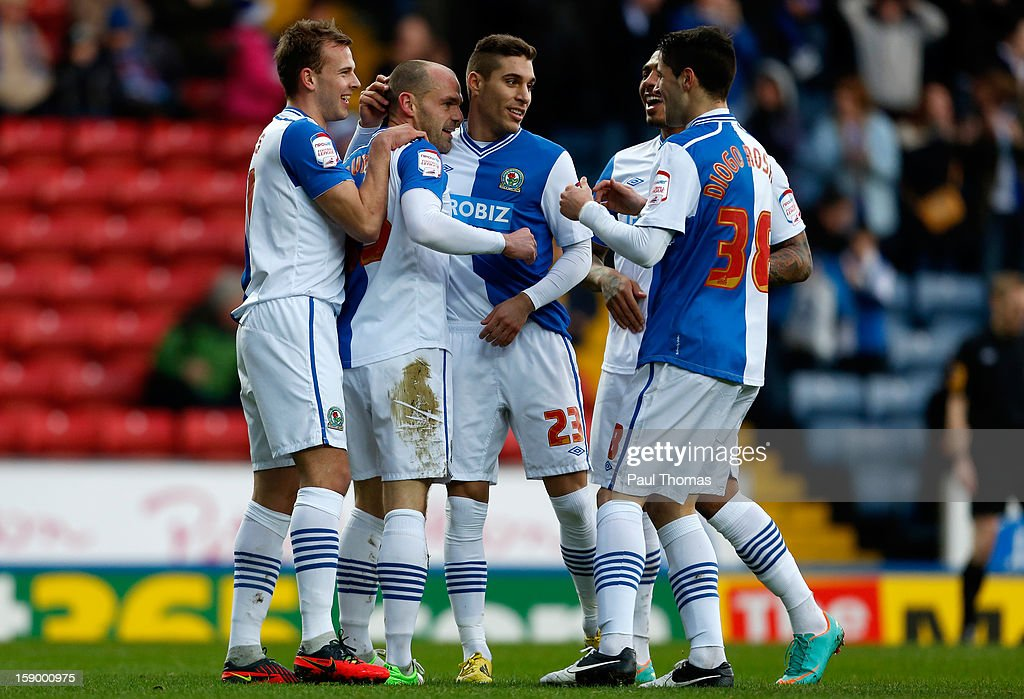 Danny Murphy (2nd L) of Blackburn celebrates his goal with team mates during the FA Cup with Budweiser Third Round match between Blackburn Rovers and Bristol City at Ewood Park on January 5, 2013 in Blackburn, England.