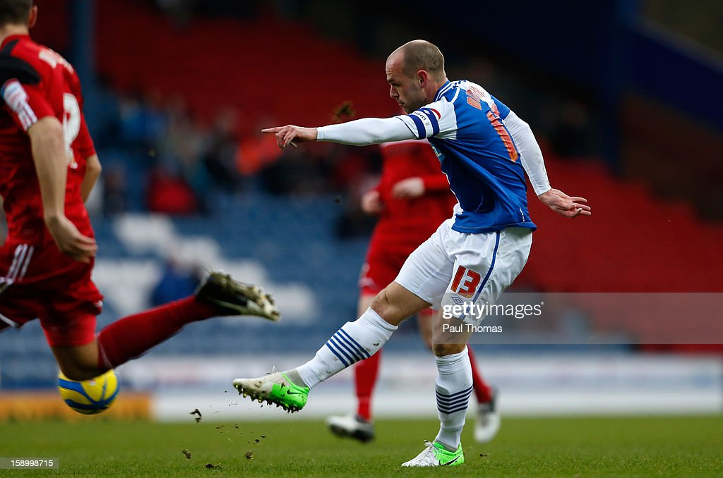 Danny Murphy of Blackburn scores the opening goal during the FA Cup with Budweiser Third Round match between Blackburn Rovers and Bristol City at Ewood Park on January 5, 2013 in Blackburn, England.