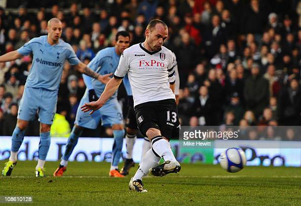 Danny Murphy of Fulham scores their first goal from the penalty spot during the FA Cup sponsored by EON 4th Round match between Fulham and Tottenham...