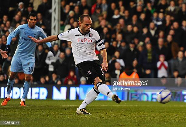 Danny Murphy of Fulham scores their second goal from the penalty spot during the FA Cup sponsored by EON 4th Round match between Fulham and Tottenham...