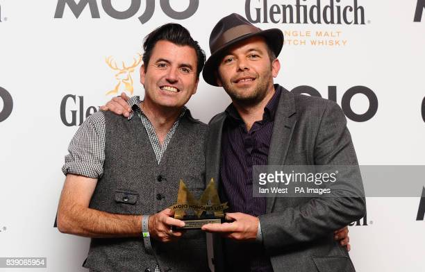 Danny O'Connor and Mark Gardiner of Upside Down win the Mojo Vision Award at the Mojo Awards at the Brewery in London