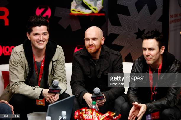 Danny O'Donoghue Mark Sheehan and Glen Power of The Script attend the Z100 Reebok Classics Artist Gift Lounge at Z100's Jingle Ball 2011 at Madison...