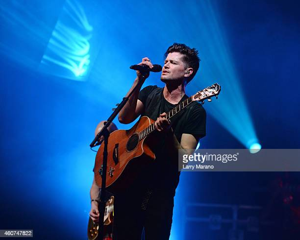 Danny O'Donoghue of The Script performs during the Y100 pre Jingleball Party at Liv Nightclub held at the Fontainebleau on December 20 2014 in Miami...
