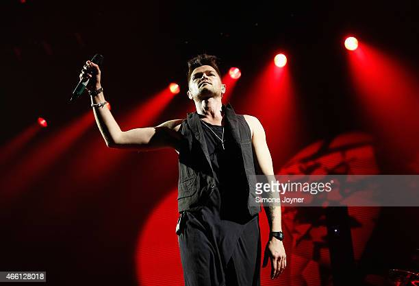 Danny O'Donoghue of The Script performs live on stage at The O2 Arena on March 13 2015 in London England