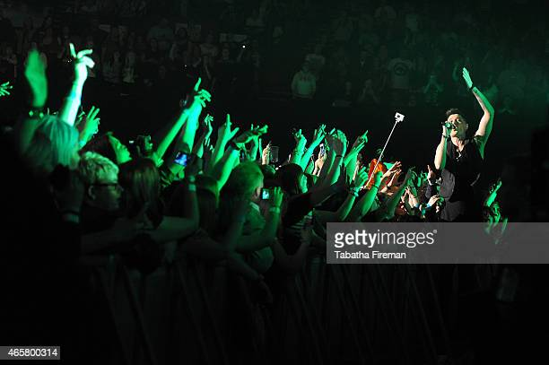 Danny O'Donoghue of The Script performs on stage at Brighton Centre on March 10 2015 in Brighton United Kingdom