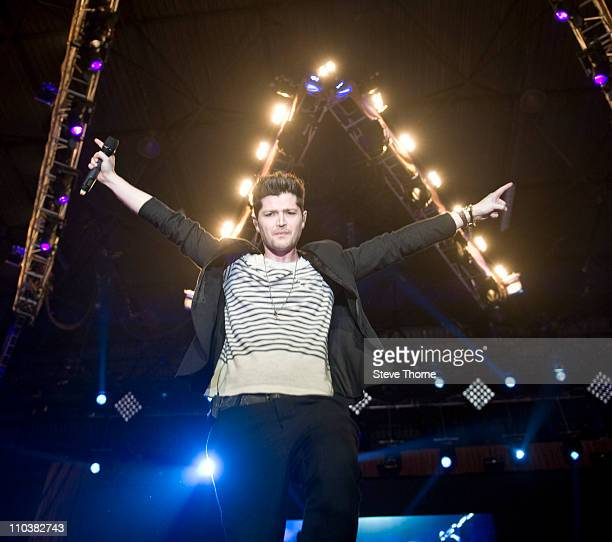 Danny O'Donoghue of The Script performs on stage at LG Arena on March 17 2011 in Birmingham England