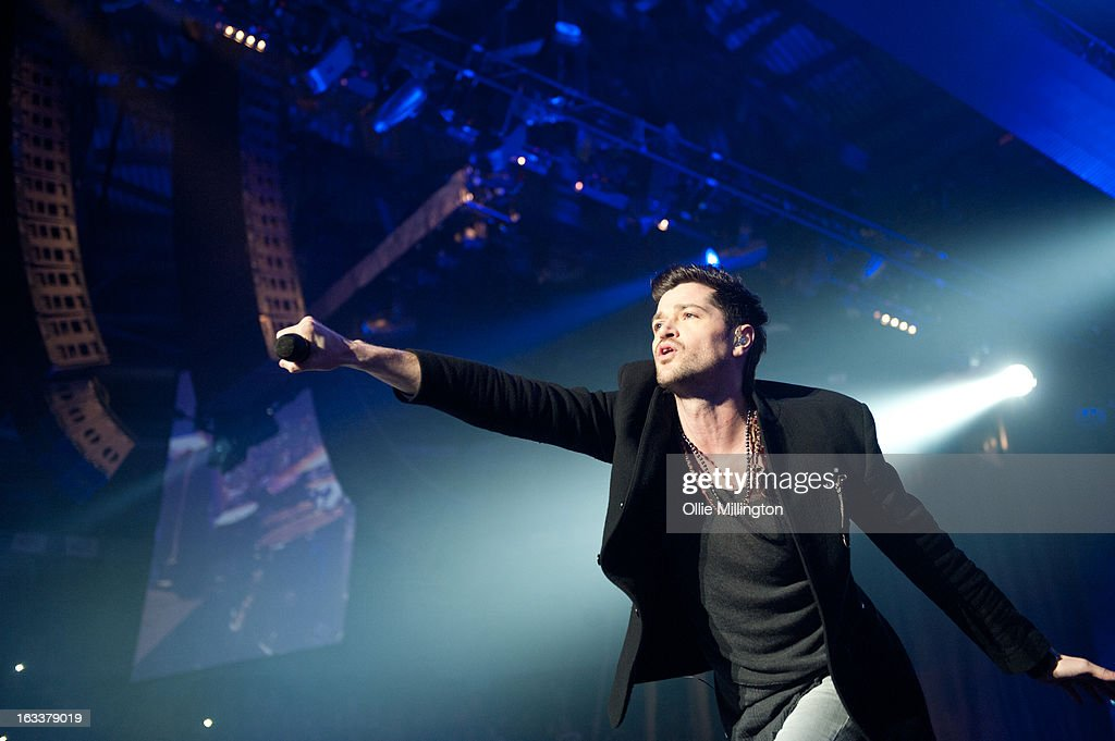 <a gi-track='captionPersonalityLinkClicked' href=/galleries/search?phrase=Danny+O%27Donoghue&family=editorial&specificpeople=5598563 ng-click='$event.stopPropagation()'>Danny O'Donoghue</a> of The Script performs on stage in concert on the opening night of the bands March 2013 UK Tour during the #3 World Tour at Nottingham Capital FM Arena on March 8, 2013 in Nottingham, England.