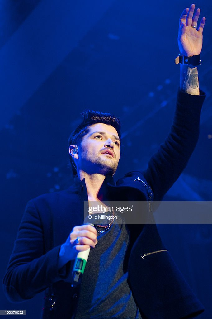 Danny O'Donoghue of The Script performs on stage in concert on the opening night of the bands March 2013 UK Tour during the #3 World Tour at Nottingham Capital FM Arena on March 8, 2013 in Nottingham, England.