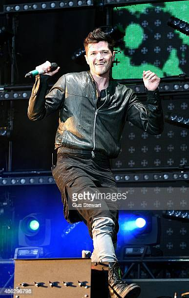 Danny O'Donoghue of The Script performs on the Virgin Media stage on August 23rd at Hylands Park Chelmsford England