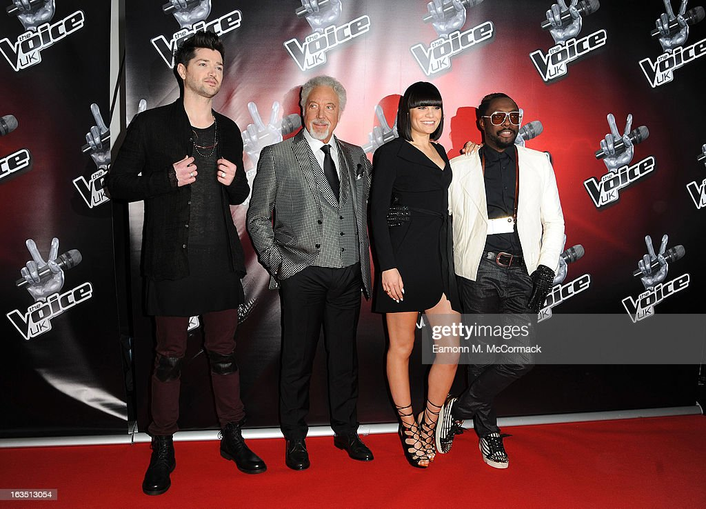Danny O'Donoghue, Sir Tom Jones, Jessie J and Will.i.am attend a photocall to launch the second series of The Voice at Soho Hotel on March 11, 2013 in London, England.