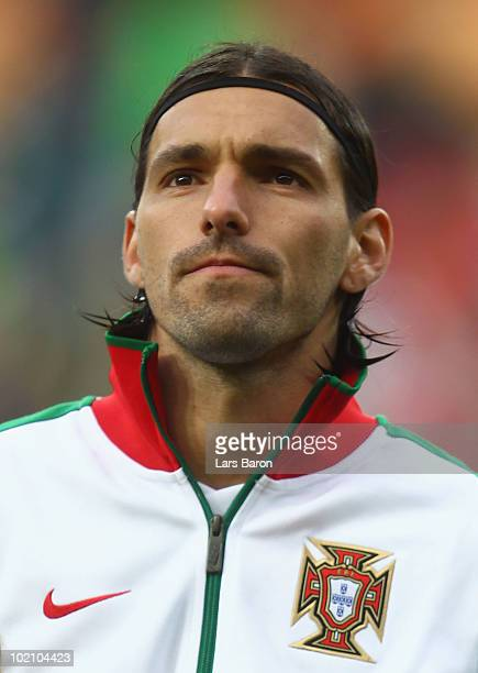 Danny of Portugal lines up for the national anthems prior to the 2010 FIFA World Cup South Africa Group G match between Ivory Coast and Portugal at...